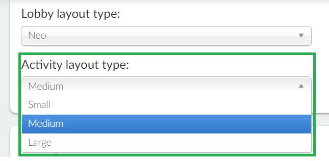Screenshot of activity layout type options
