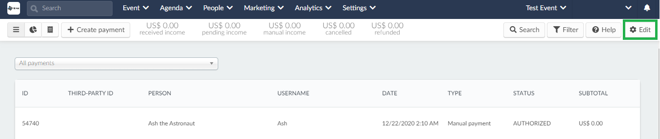 Screenshot of the payments page and the edit button highlighted.