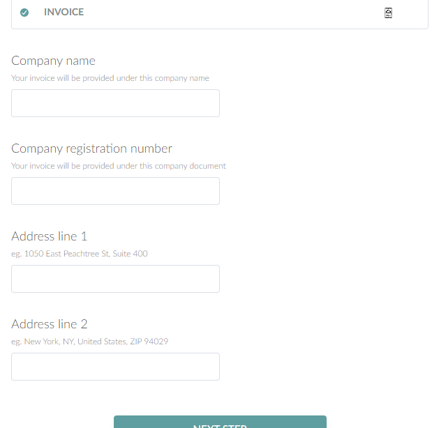 Screenshot of the invoice option fields on the registration form.