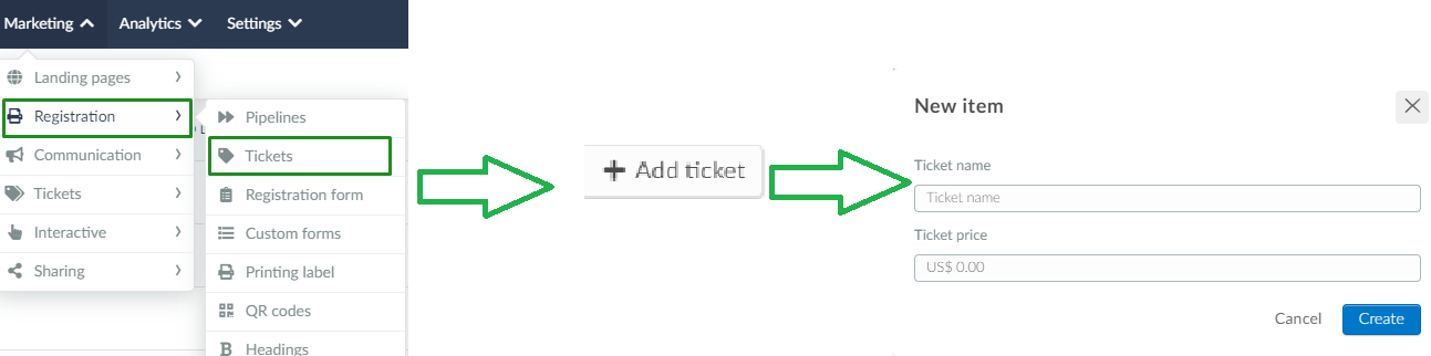 Marketing > tickets > add ticket > name > price