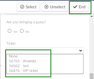 ticket > select ticket > end