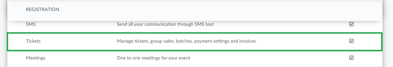 Enabling the tickets feature