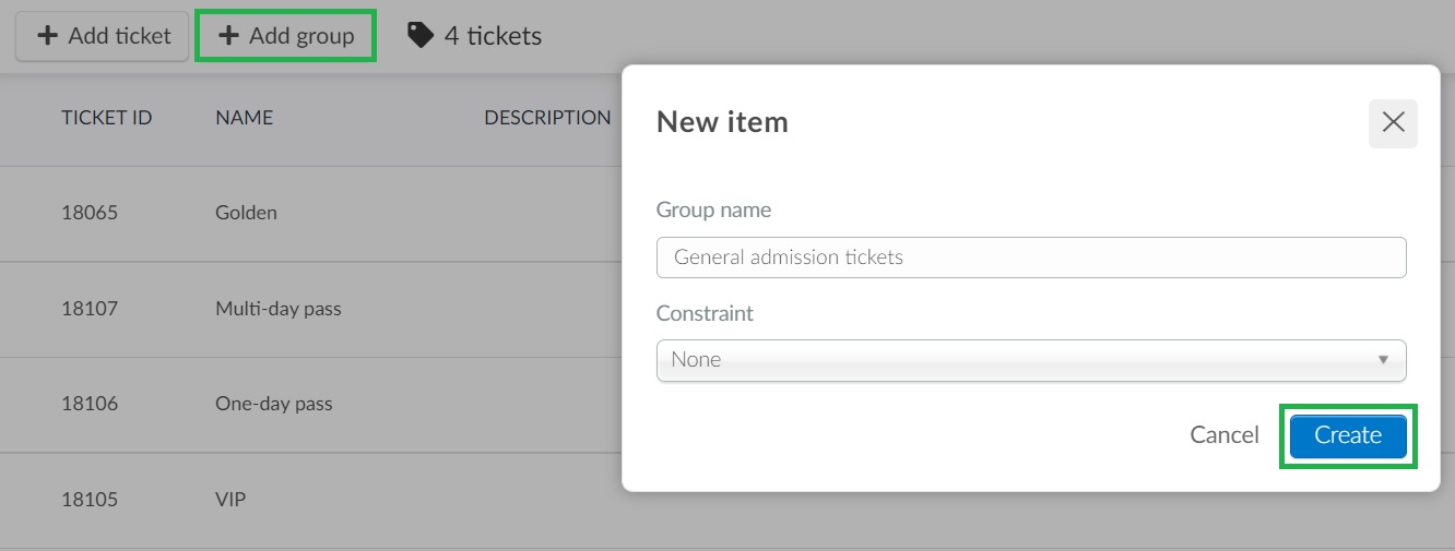 Creating ticket groups