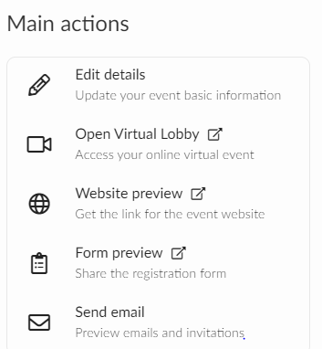 Screenshot of the main actions section.