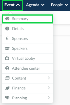Screenshot of the steps Event > Summary.