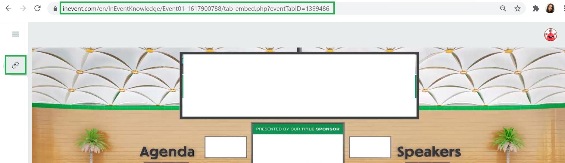 Embedded tab link