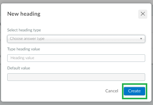 Screenshot of steps  Settings>heading>create