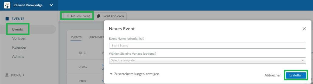 Screenshot of how to create an event