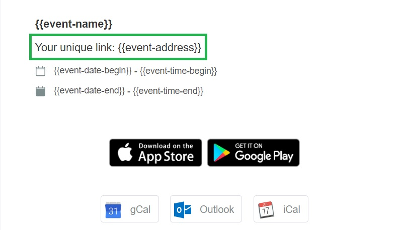 Screenshot of  the email's customizable page, highlighting {[event-address}}