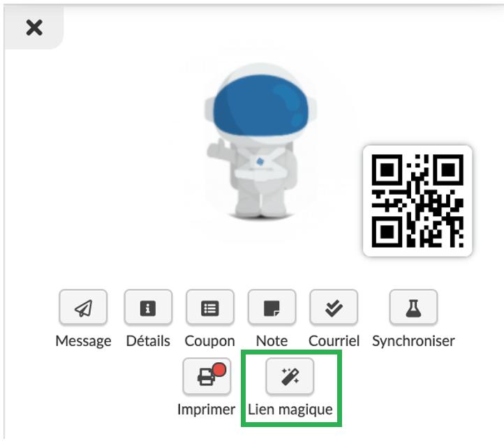 Capture d'écran : trouver le lien magique du participant
