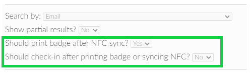 Should print badge after NFC sync? - Yes.  Should check-in after printing badge? - Yes.