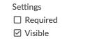 Check box for visible option