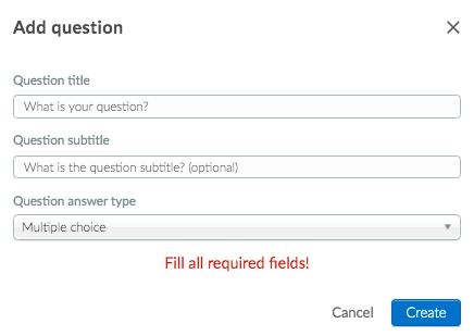 Image shows the 'Add question' pop-up window
