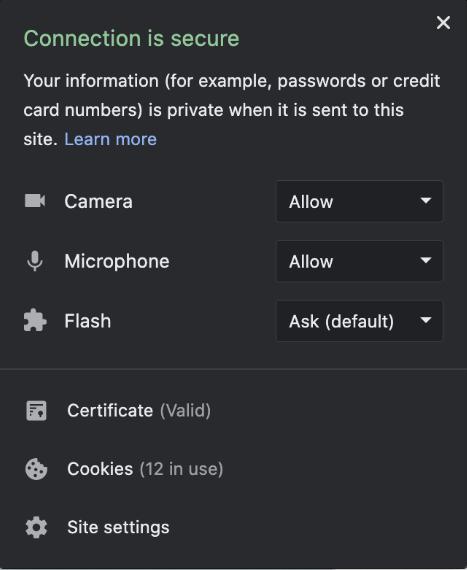 Screenshot of Mac connection  settings