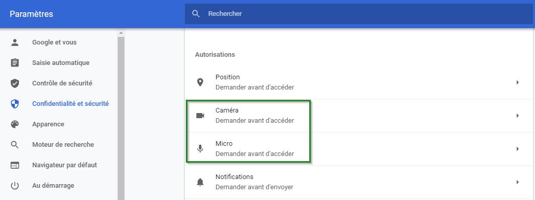 Screenshot of Chrome settings Camera