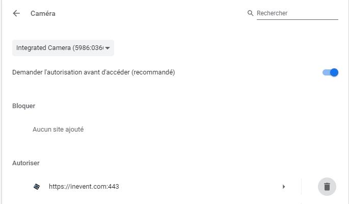 Screenshot of Chrome camera authorization