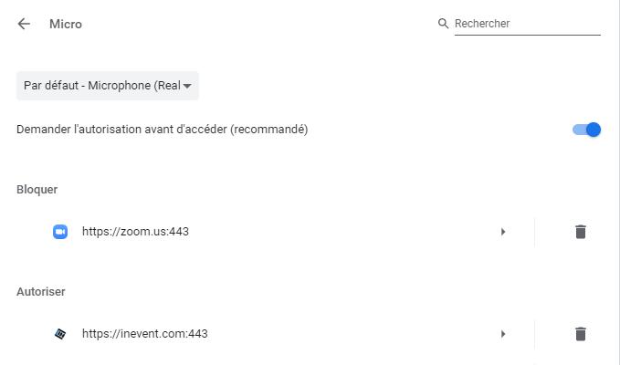 Screenshot of Chrome Microphone autorization