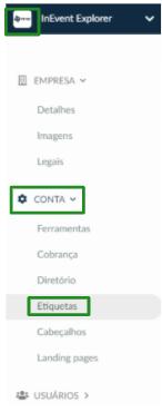 Captura de tela do caminho Nível empresarial >  Conta > Etiqueta