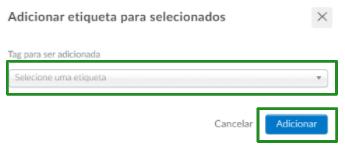 Captura de tela da área de adição de etiqueta.