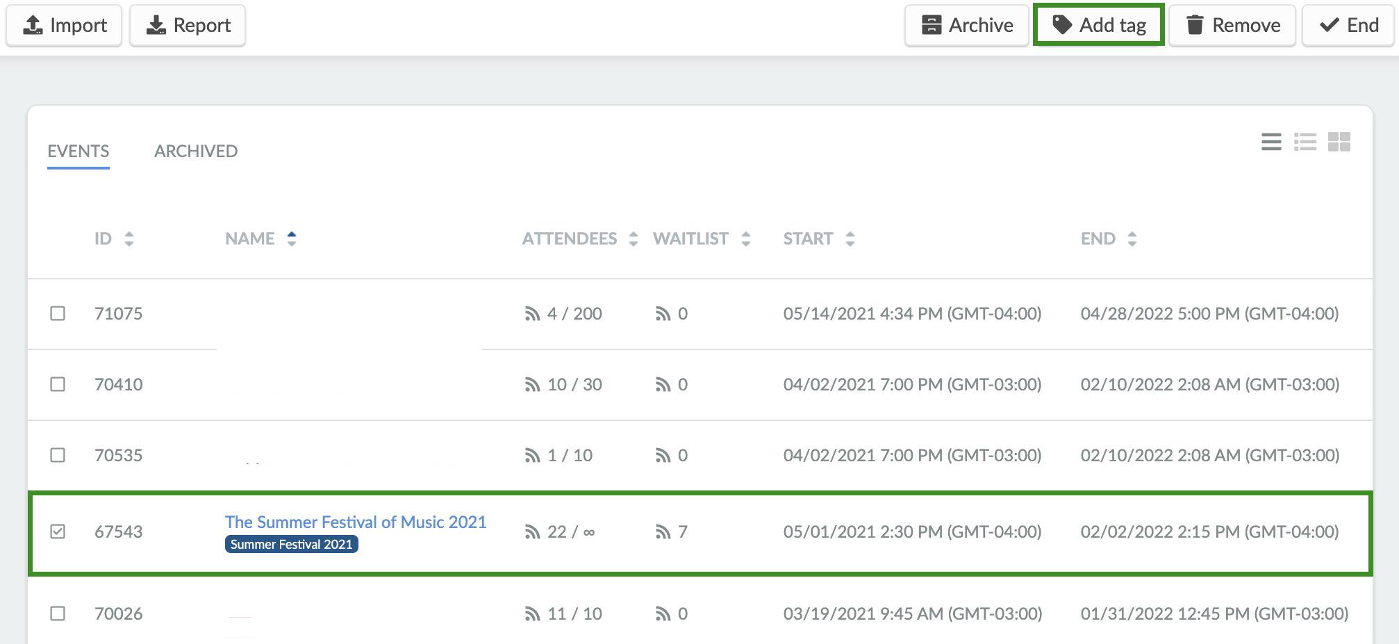 screenshot event > edit > select