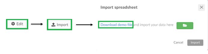 screenshot speakers > edit > import > download demo file