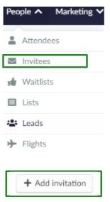Screenshot of the steps People > Invitees > Add invitation