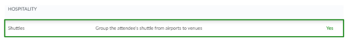 Screenshot of the shuttles tool under hospitality.