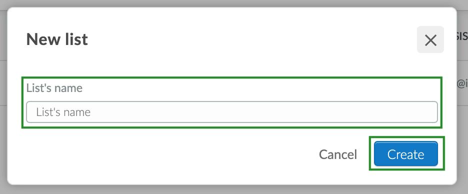 Screenshot of steps to add a new list