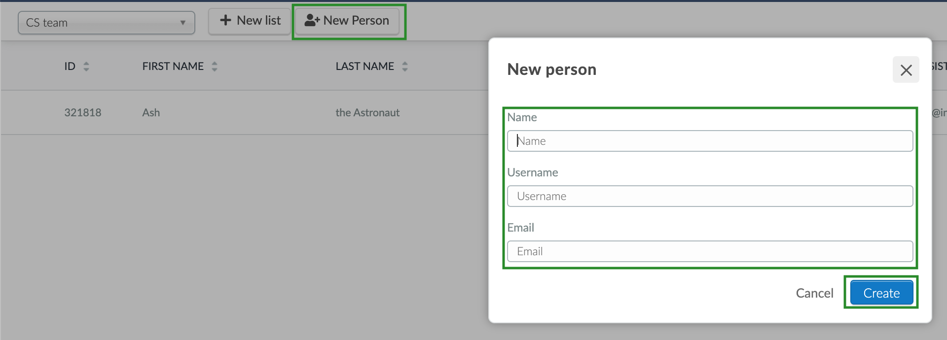 Screenshot of steps to add a new person to a list