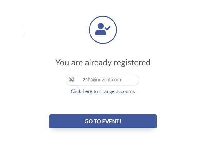 You are already registered message