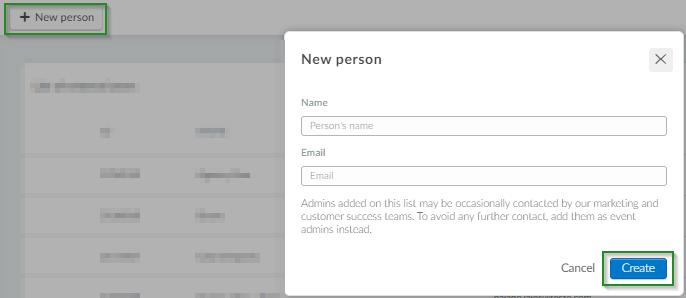 Screenshot of steps How do I add an External user settings>createexternal users>new person