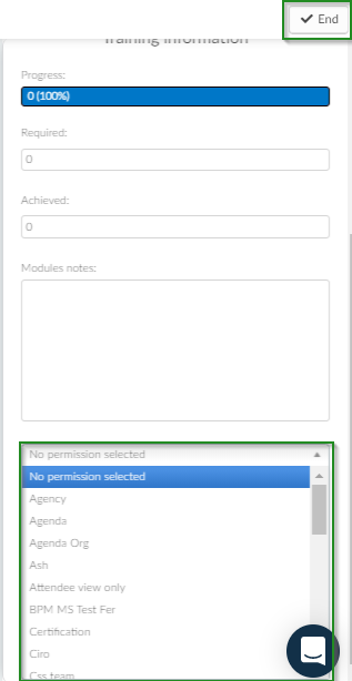 Screenshot of steps How do I set permissions for the user edit>blue bottom>no permissions selected