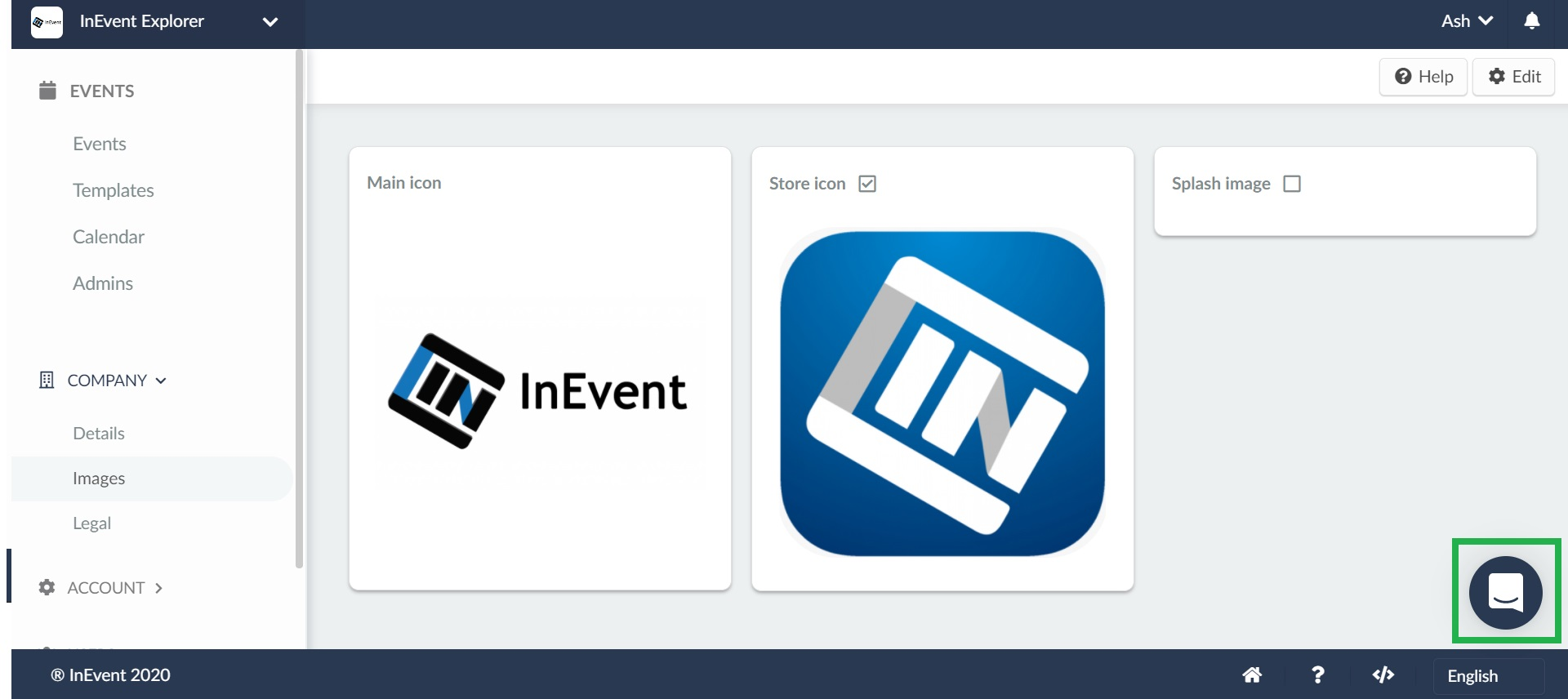 screenshot of inevent live chat icon