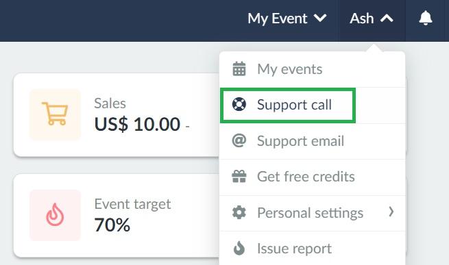 screenshot of support call