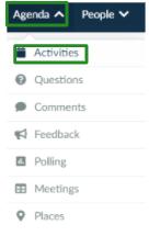 Screenshot of the steps Agenda > Activities
