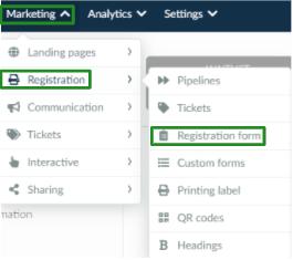 Screenshot of the steps Marketing > Registration > Registration form