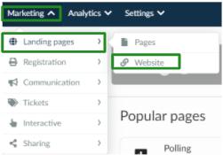 Screenshot of the steps Marketing > Landing Pages > Website