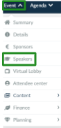 Screenshot of the steps Event > Speakers