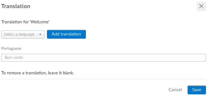 Screenshot of the adding translations section on activities.