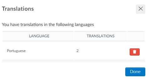 Screenshot of the translations to be removed.