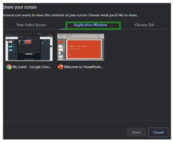 Screenshot of the application window tab when sharing screen.