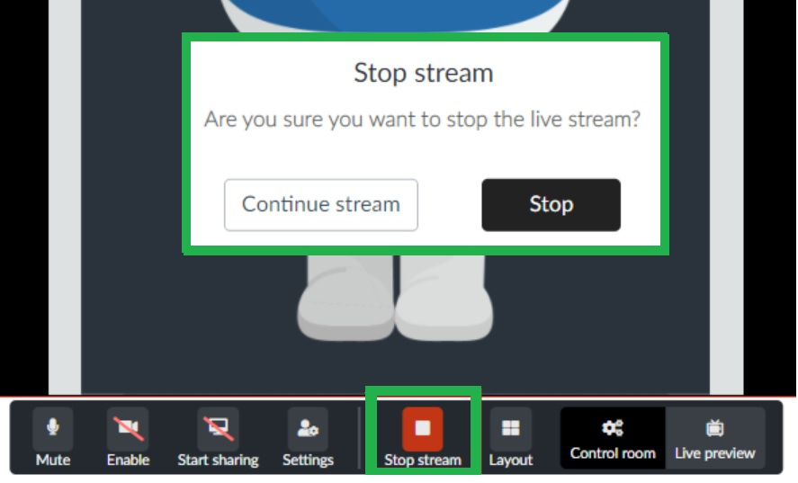 How to stop the streaming