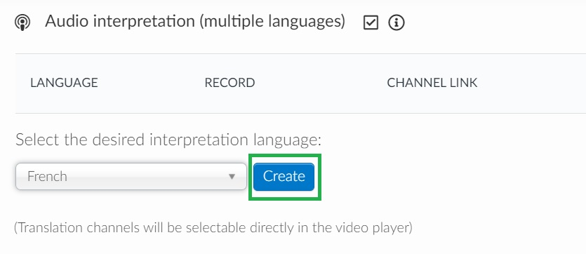 Selection the language for the audio channel