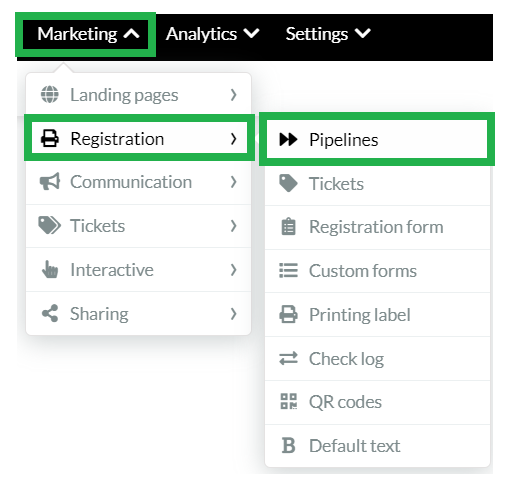 Marketing > Registration > Pipeline