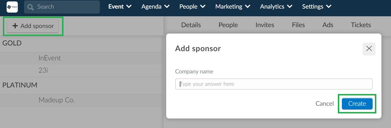 Screenshot of how to create sponsors