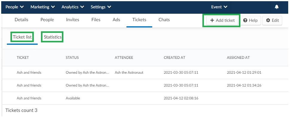 Sponsor Tickets tab