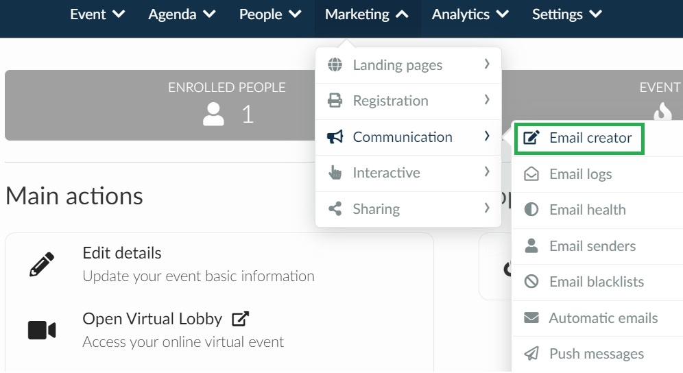 Screenshot of how to access email creator: Marketing > communication > email creator