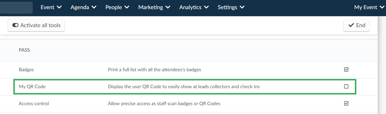 Screenshot of how to disable My Qr Code. Settings > Tools > My Qr Code