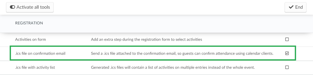 ics file on the confirmation email