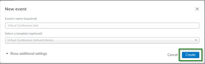 Screenshot of company level >event>new event